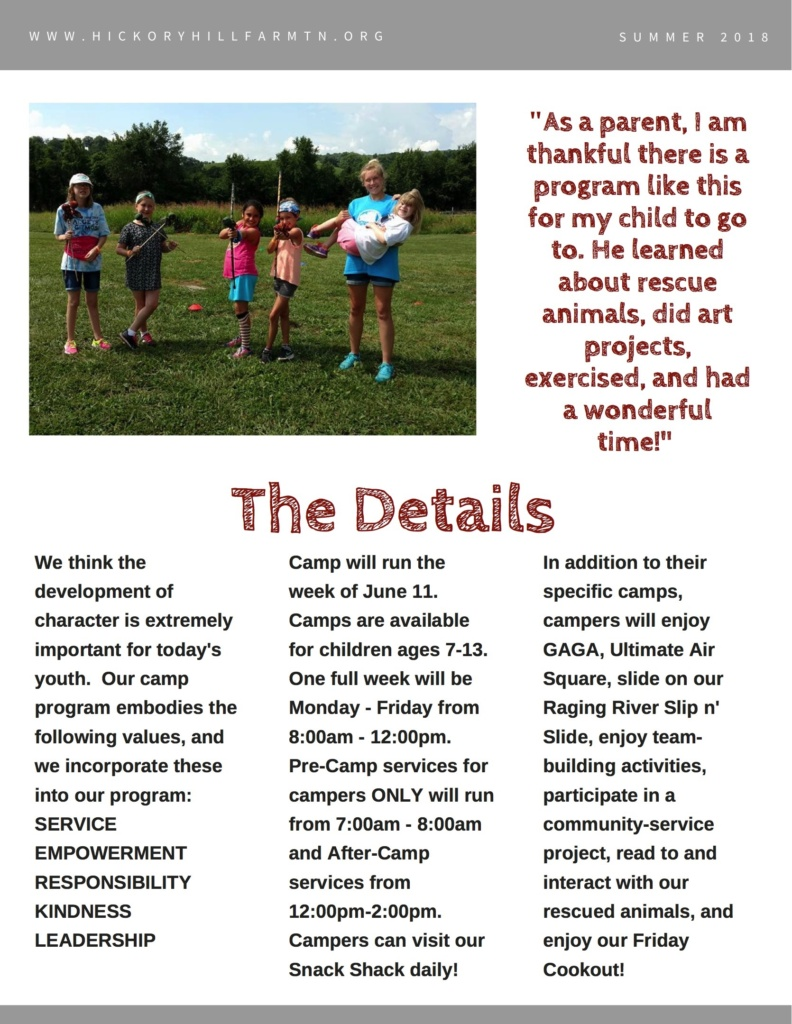 http://hickoryhillfarmtn.org/wp-content/uploads/2018/03/Hickory-Hill-Farm-Summer-Day-Camp-2018-Brochure-FINAL0003-792x1024.jpg